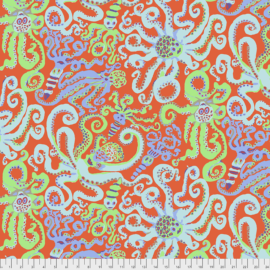 PWBM074.ORANGE Octopus - Orange - Kaffe Fassett Collective Fall 2020