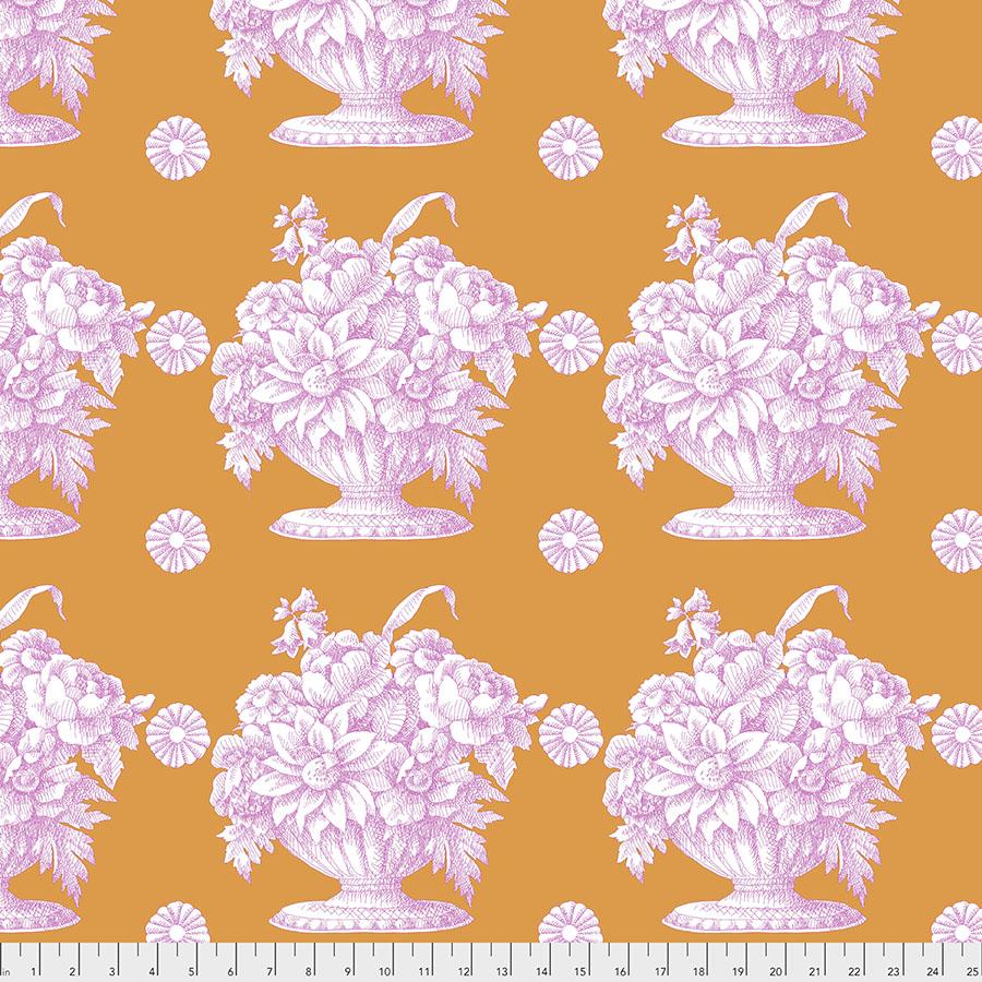 Purple Stone Flower on Orange  - Kaffe Fassett Collective by FreeSpirit Fabrics