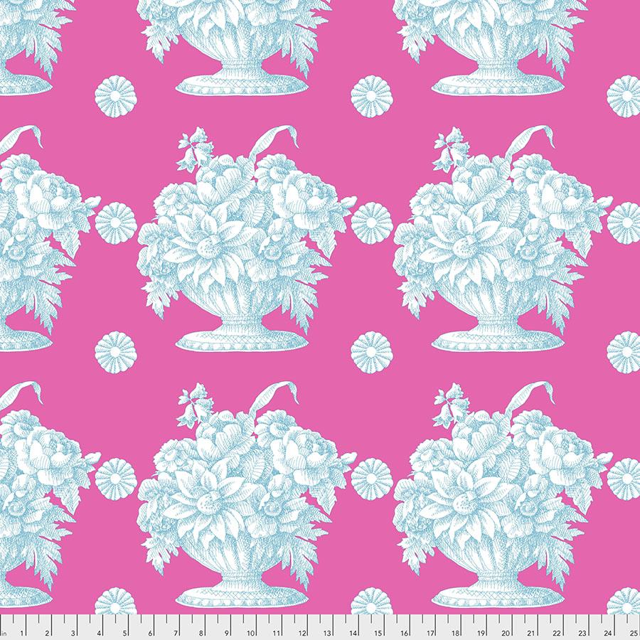 Turquoise Stone Flowers on Pink - Kaffe Fassett Collective by FreeSpirit Fabrics