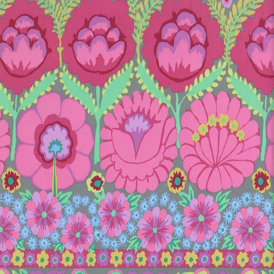 Kaffe Fassett Artisan: Embroidered Flower Border - Pink