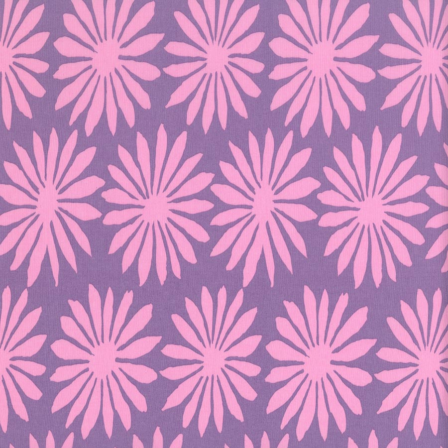 Pink Flowers on Purple: Gerbera Lilac by Artisan of Kaffe Fassett Collective for FreeSpirit Fabrics
