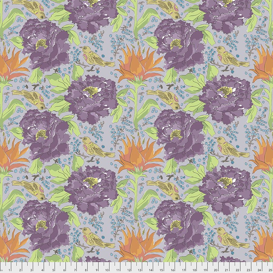 Purple and Orange Flowers and Yellow Birds on Gray:  Color Fusion - Bird of Paradise by Laura Heine for FreeSpirit Fabrics