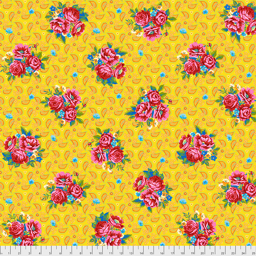 Pink Flowers on Bright Yellow:  Perfect Bouquet - Confettis by Odile Bailloeul for FreeSpirit Fabrics