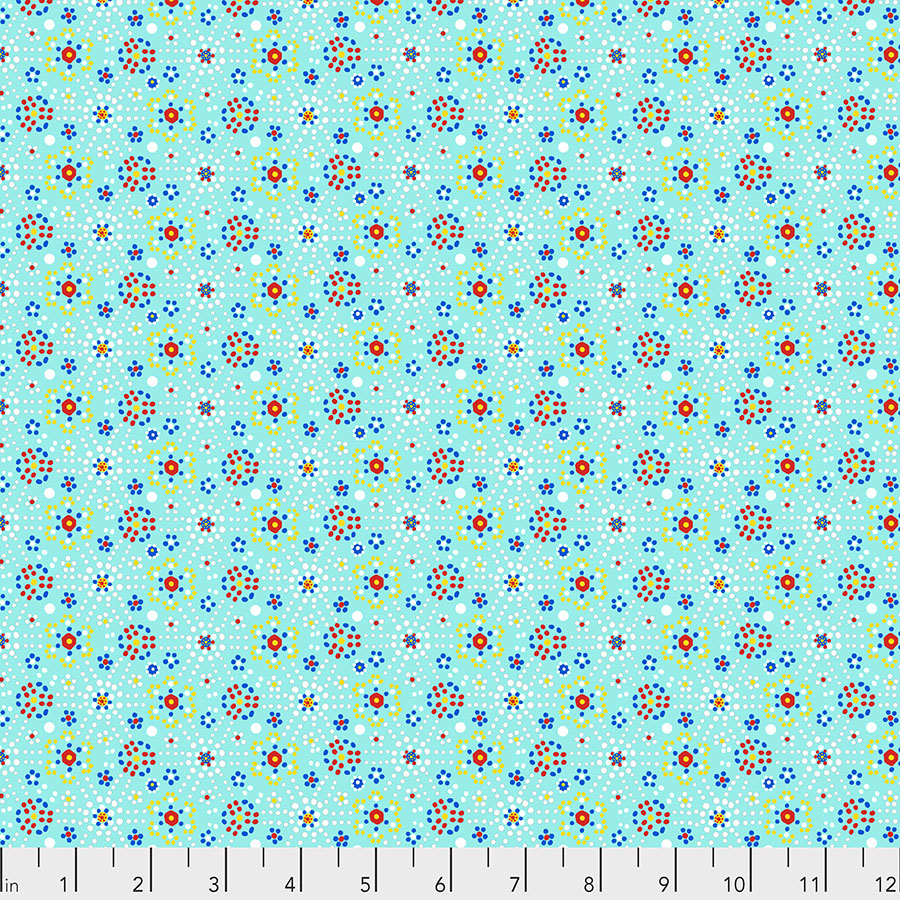 White and Yellow Dot Crystals on Turquoise:  Confettis by Odile Bailloeul for FreeSpirit Fabrics
