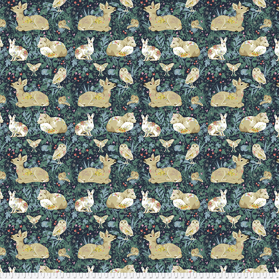 Land Art - Mini Enchanted Forest, Navy - by Odile Bailleoul for Free Spirit Fabrics