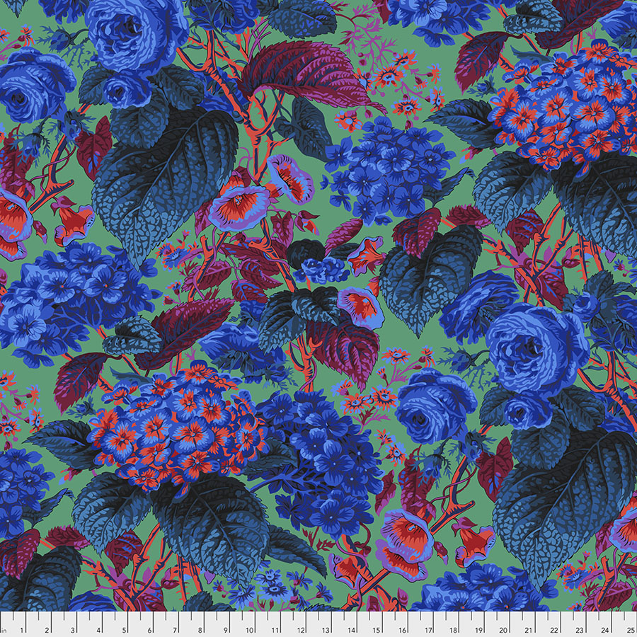 Kaffe Fassett Rose and Hydrangea - Blue