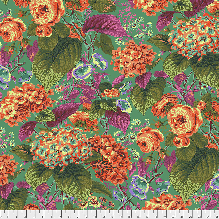 Kaffe Fassett Rose and Hydrangea - Green