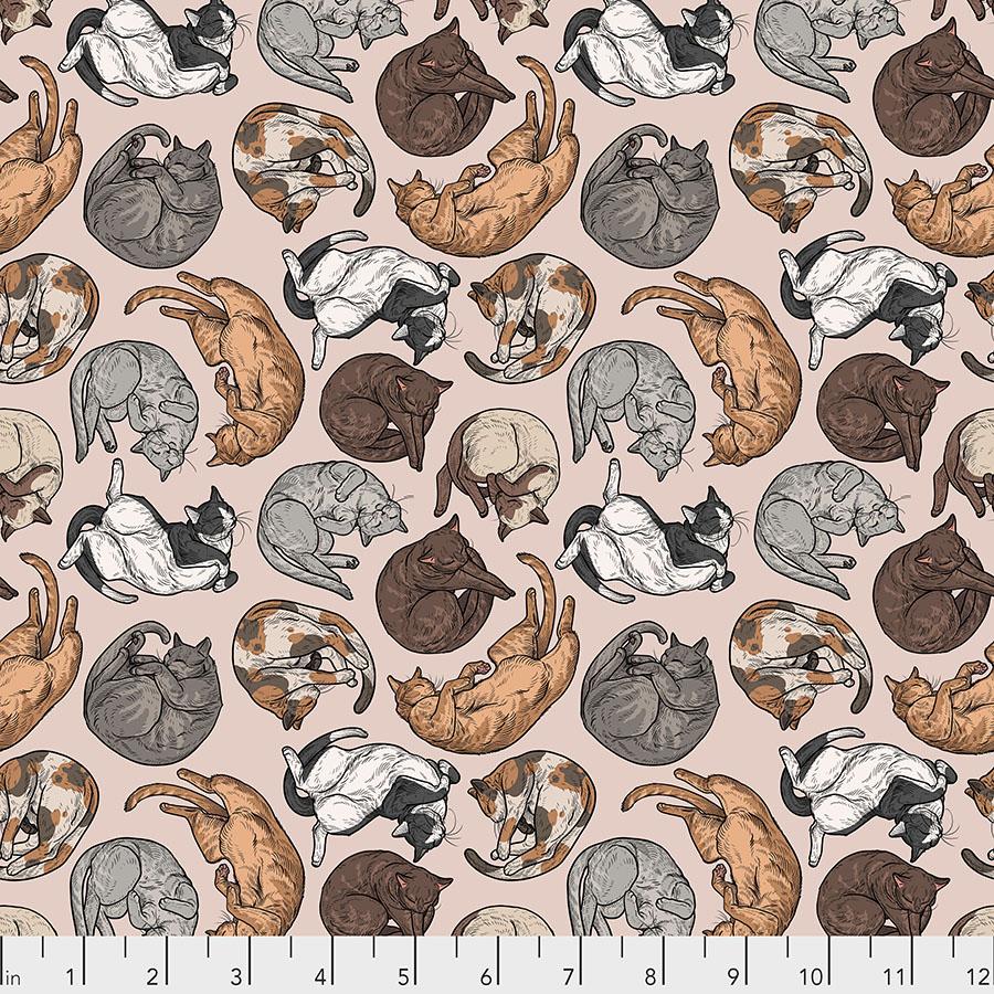 Cat Nap Fabric - Natural