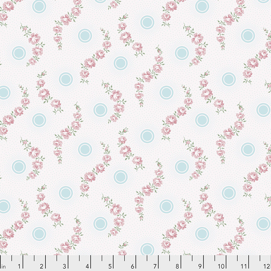 Pink Roses with Radiating Blue Dots on White:  Dream Cottage - Rose Dot by Verna Mosquera for FreeSpirit Fabrics