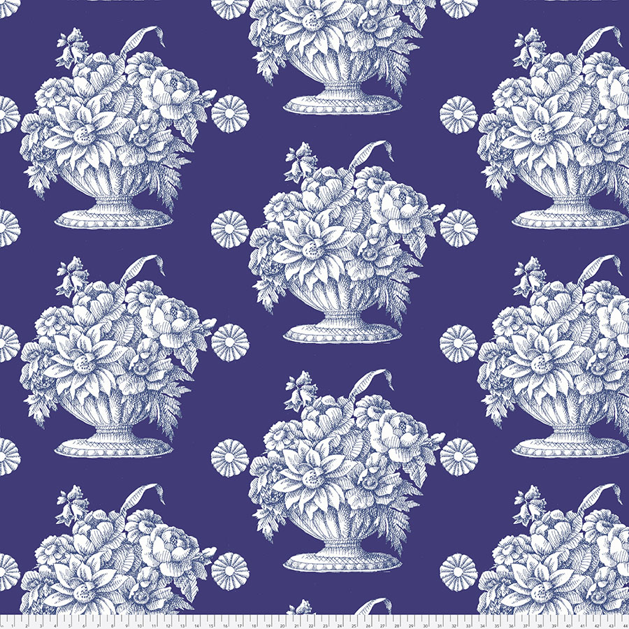 Kaffe Backing 3yd x 108 - Stone Flower - Royal