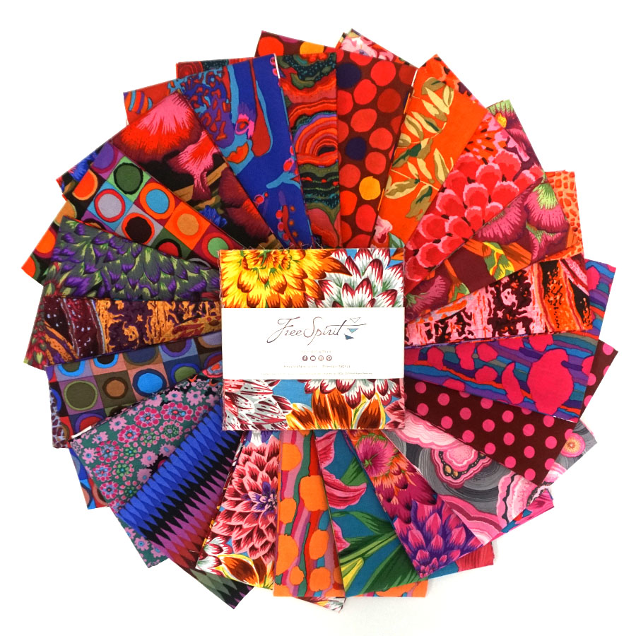 August 2020 : Hot - 5 Charm - (42) 5x5 squares - Kaffe Fassett