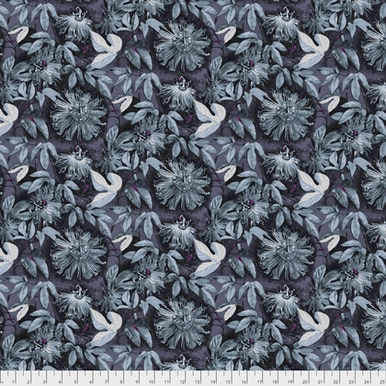 Teal Flowers on Gray:  Passionflower - Passionflora by Anna Maria Horner for FreeSpirit Fabrics