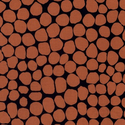 Rusty Orange Stones on Black:  Jumble by Brandon Mably of Kaffe Fassett Collective for FreeSpirit Fabrics