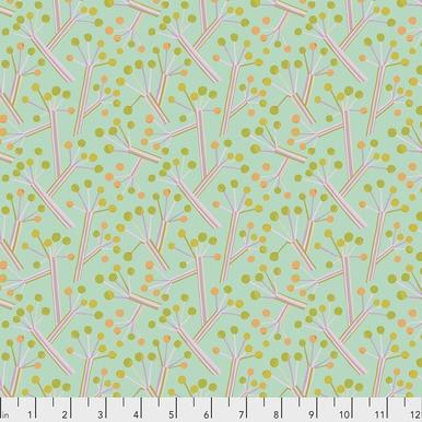 FreeSpirit Fabrics   Bush Lily - Mint  Seeds & Stems  Kathy Doughty