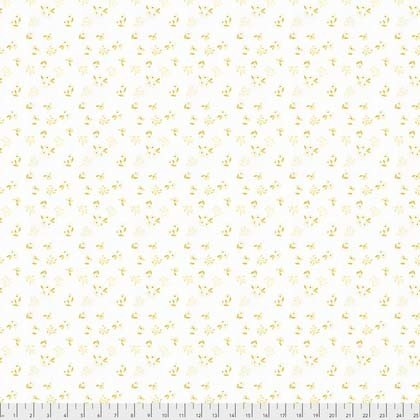 Small Yellow Flowers on White:  Crisp Petals - Alyssum by Natalie Malan for Coats