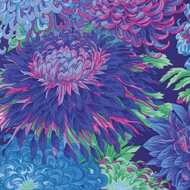 Kaffe Fassett Philip Jacob - Chrysanthemum - PWPJ041.BLUE- Blue| Kaffe Fassett Collective Cla...
