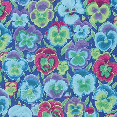 FreeSpirit Fabrics | Pansies - Blue| Kaffe Fassett Collective Stash|Philip Jacob...