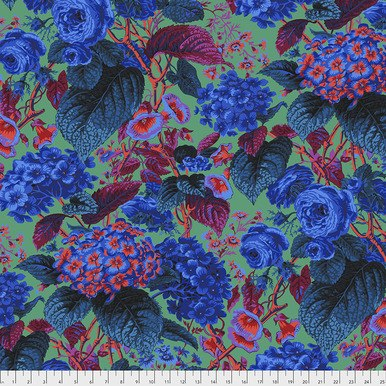 Rose and Hydrangea: Blue Flowers on Green - Kaffe Fassett Collective by FreeSpirit Fabrics