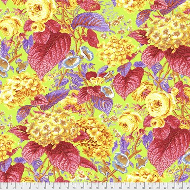 Rose and Hydrangea: Pink and Gold on Citrus Green - Kaffe Fassett Collective by FreeSpirit Fabrics