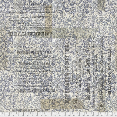 FreeSpirit Fabrics | Memorandum - Blue |Memoranda 2 |Tim Holtz Eclectic Elements