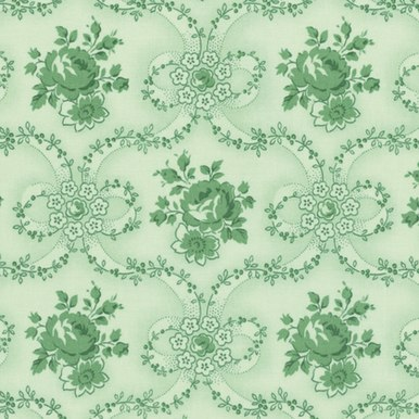 Green Ribbon Wreath: Peppermint Rose by Verna Mosquera for FreeSpirit Fabrics