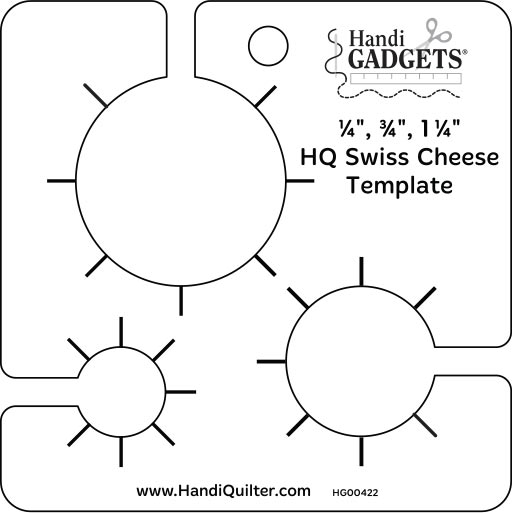 Handi Quilter Swiss Cheese Template 1/4 3/4 1 1/4