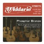 D'Addario EPBB170 Phosphor Bronze Acoustic Bass Strings Long Scale, 45-100