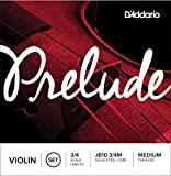 D'Addario Prelude Violin String Set, 3/4 Scale, Medium Tension