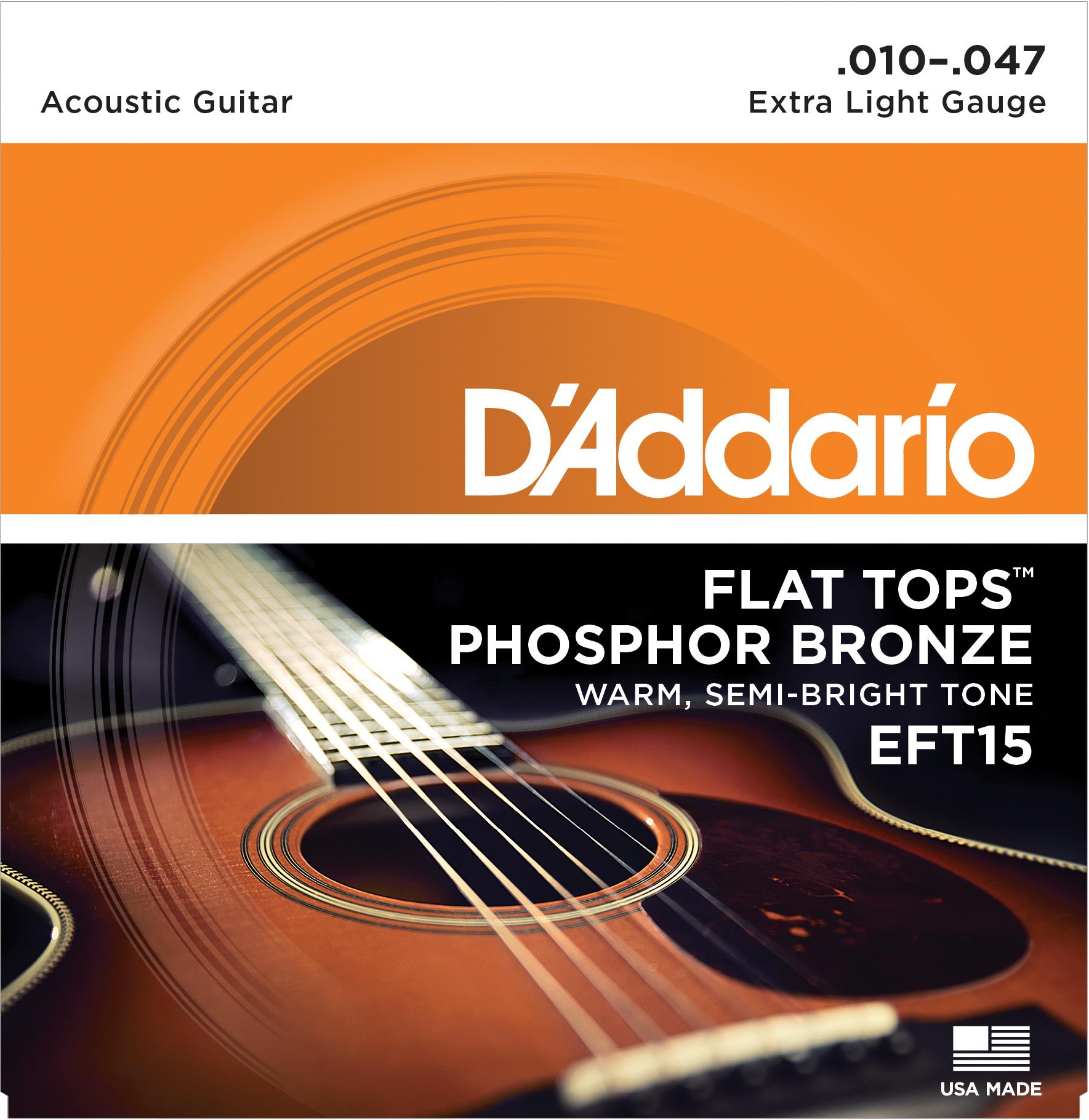D'Addario EFT15 Flat Tops Phosphor Bronze Acoustic Guitar Strings, Extra Light, ...