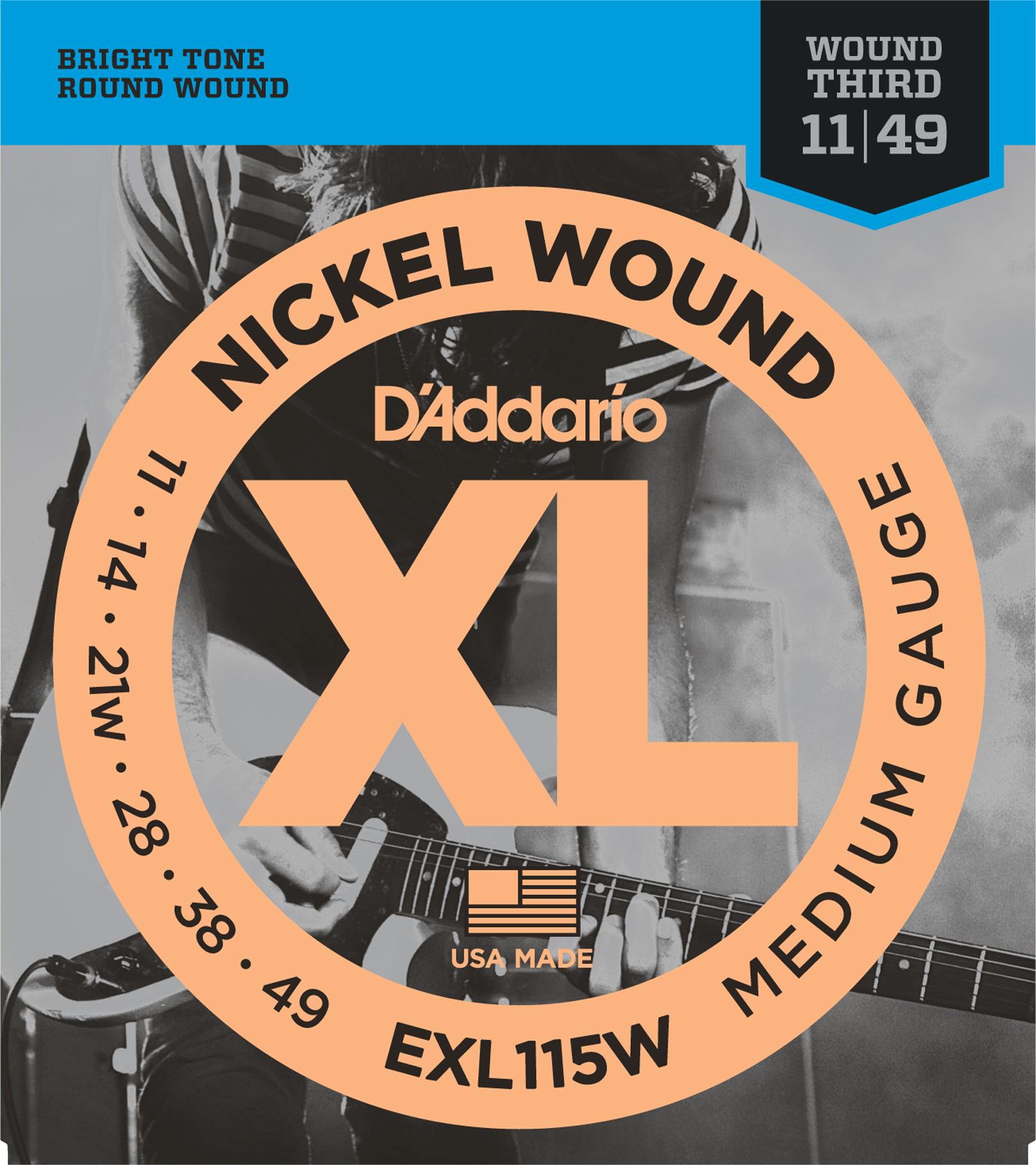 D'Addario EXL115 Nickel Wound Electric Guitar Strings, Medium/Blues-Jazz Rock, W...