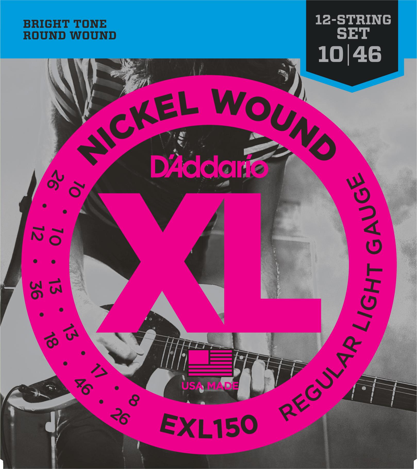 D'Addario EXL150 Nickel Wound Electric Guitar Strings, 12-String, Regular Light,...