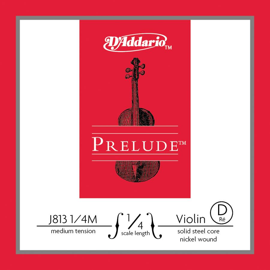 D'Addario Prelude Violin Single D String, 1/4 Scale, Medium Tension