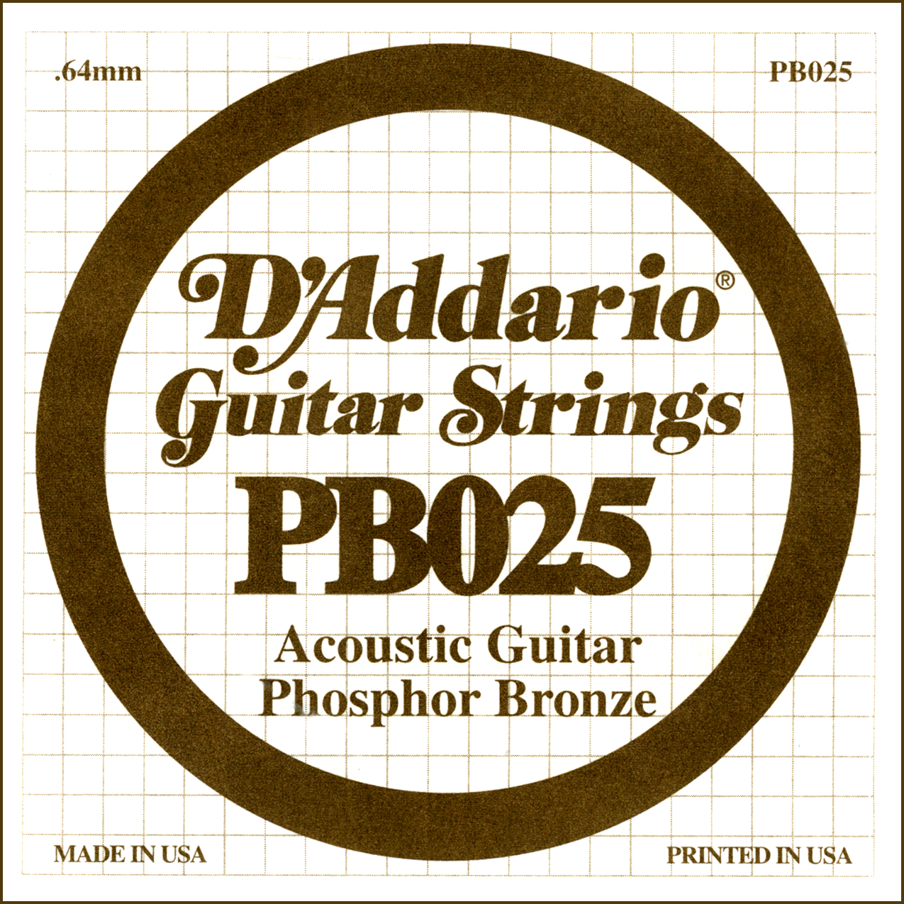 D'ADDARIO PB025 PHOSPHOR BROZ SINGLE STRING