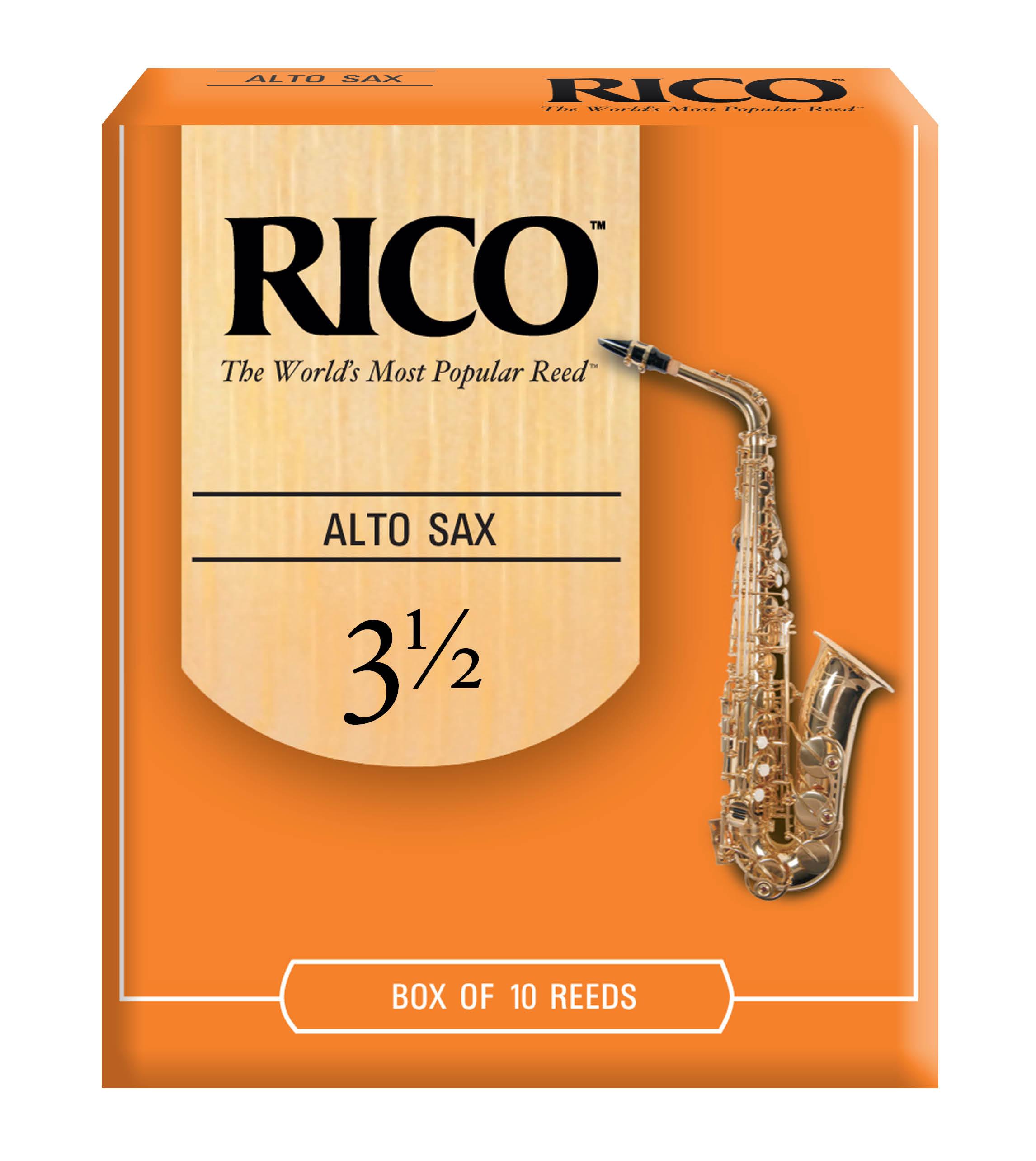Rico Alto Sax Reeds, Strength 3.5, 10-Pack