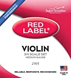 Super Sensitive Red Label Violin String Set, Orchestra Tone 3/4