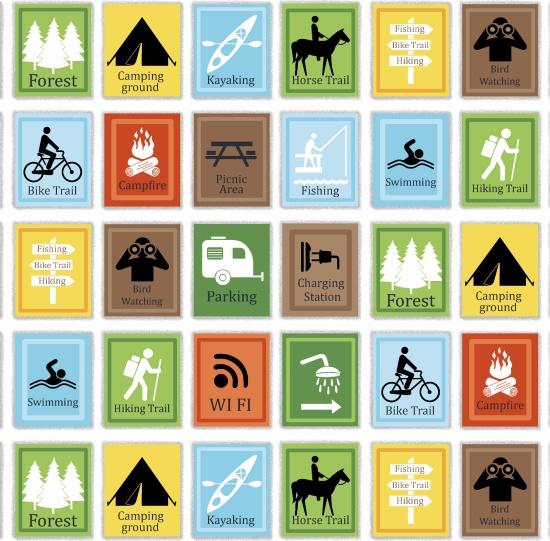 Happy Camper White Multi Signs - #1333-01