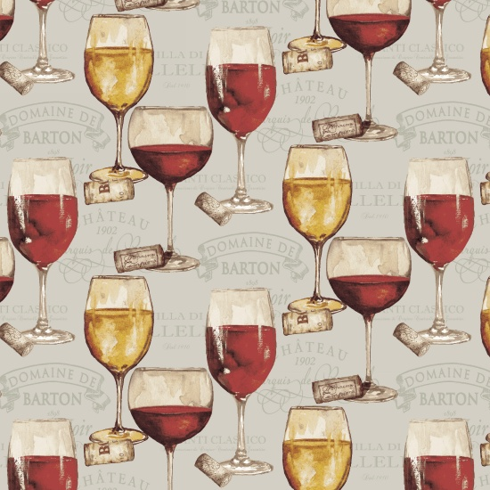 Wine Glasses Fat Quarter - Light Gray Wine Night Collection by Henry Glass Fabrics