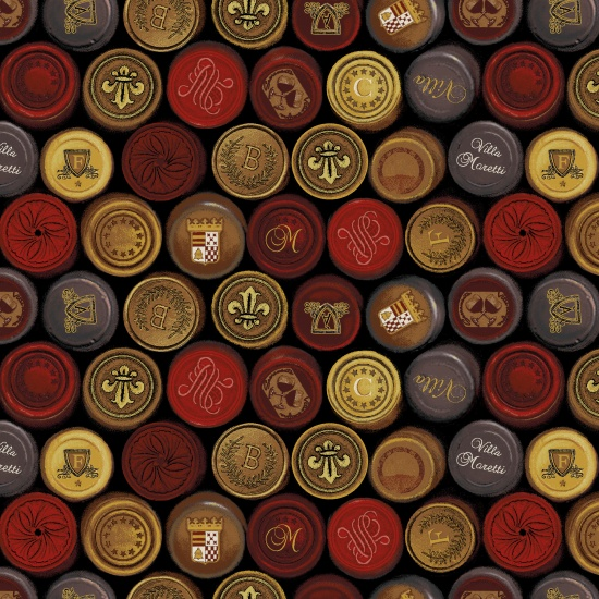Wine Seals Fabric - Black/Multi Wine Night Collection by Henry Glass Fabrics