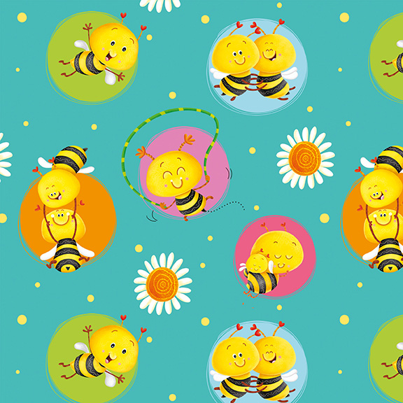 Busy Bees by Nidhi Wadhwa of Blue Fish Designs for Henry Glass & Co.