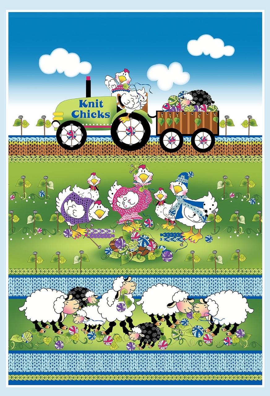 Knit Chicks Full Banner Quilt Panel by Henry Glass Fabrics