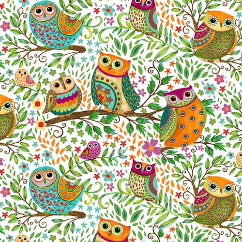 Spring Awakens - Owls White