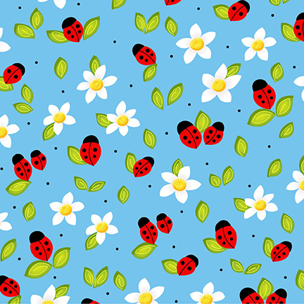 Ladybugs and Flowers on Blue: Celebrate Summer by Dana Brooks for Henry Glass & Co.