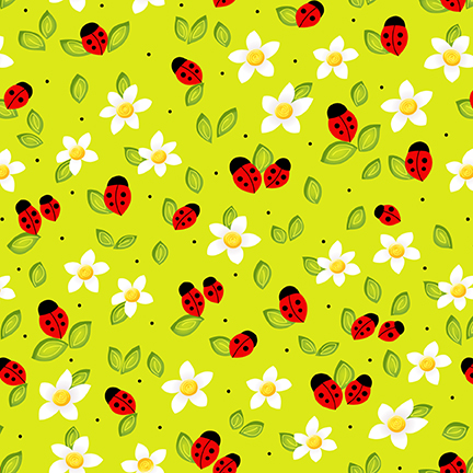 Ladybugs and Flowers on Lime Green: Celebrate Summer - by Dana Brooks For Henry Glass & Co.