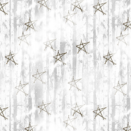 Faded Stars Fabric - White Snow Days Collection by Henry Glass Fabrics