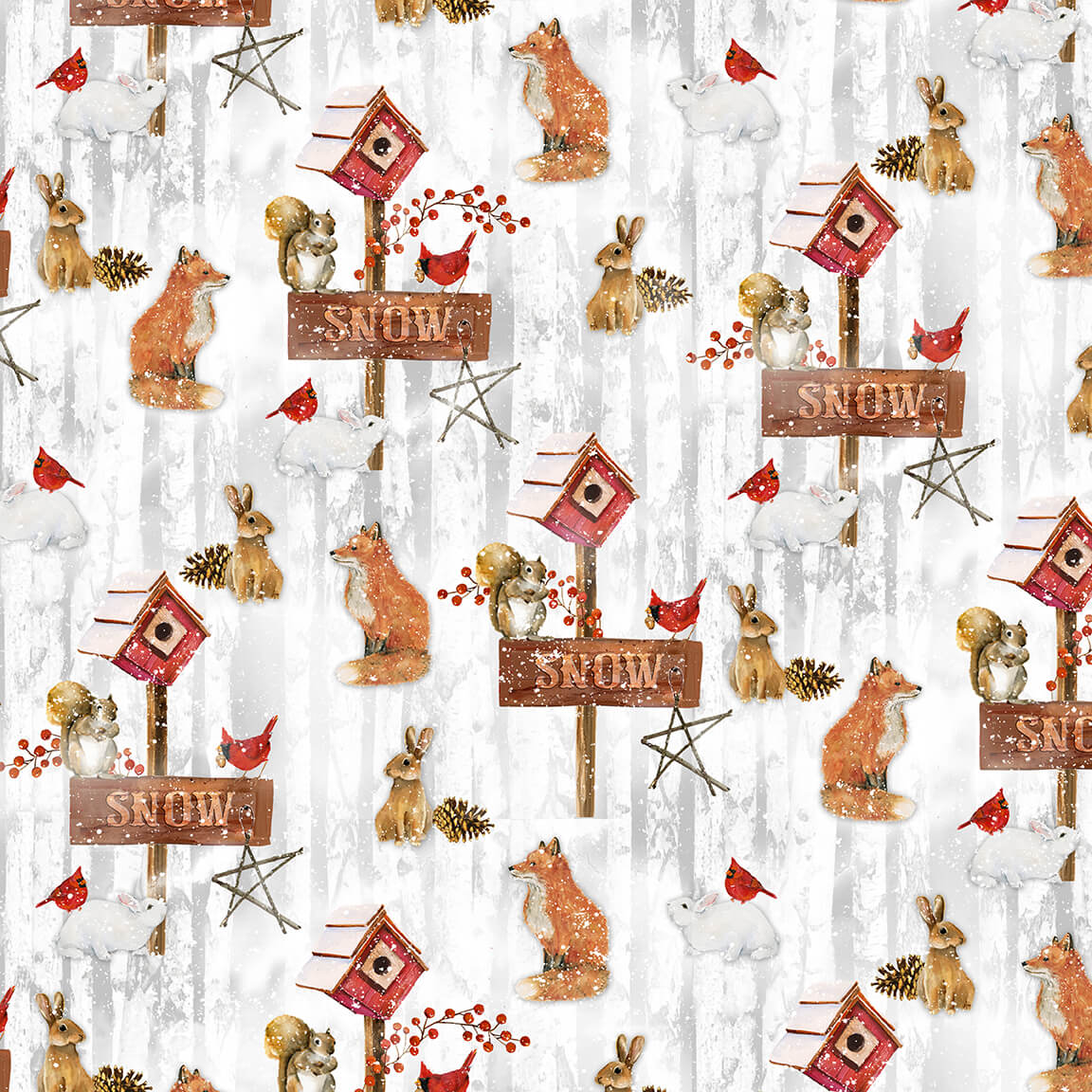 Snow Days Q-1636-90 Tossed Woodland Animals