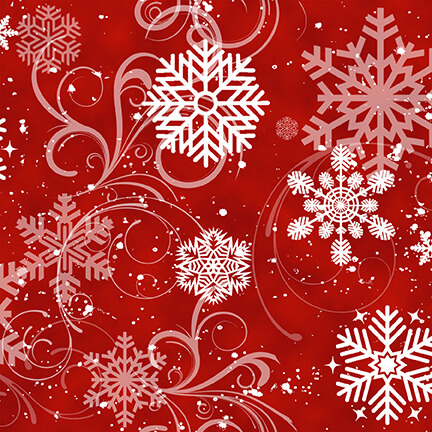 Snow Days 1637-88 Swirling Snowflakes Red