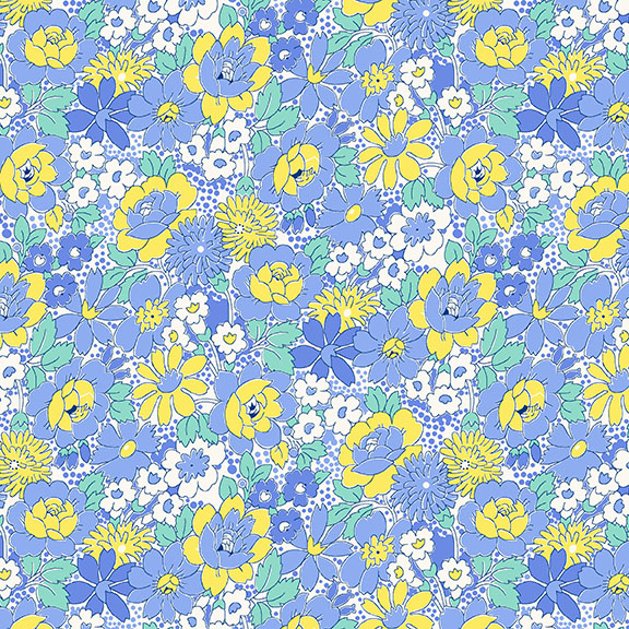 HG- Nana Mae III Blue & Yellow Medium Floral