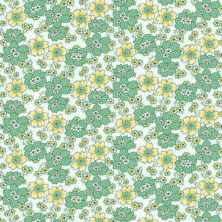 Nana Mae III - Green Dotted Flowers