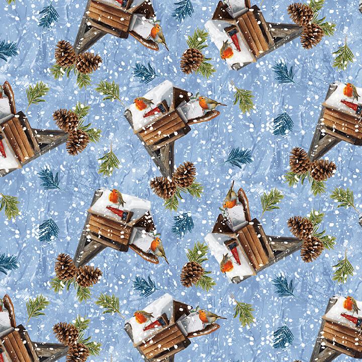 Winter Cottage Blue w birdhouse