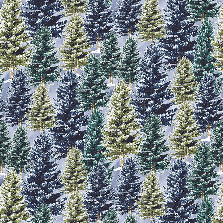 HG- Winter Cottage Blue and Green Pine Trees